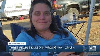 Three people killed in wrong-way crash on I-10