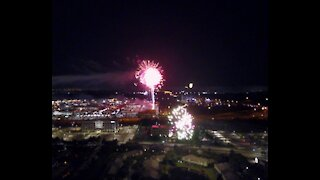 Drone view of July 4th fireworks.