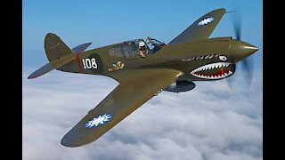 P40 Warhawk flying at Virginia Military Aviation Museum