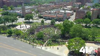 Drone footage of peaceful protests in KC