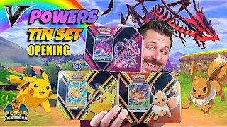 V Powers Tin Set | Pikachu | Eevee | Eternatus | Pokemon Cards Opening