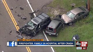 Firefighter, family in hospital after crash