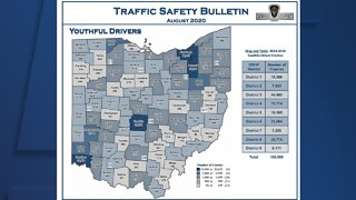 OSHP releases map showing total crashes by county involving young drivers, Cuyahoga Co. among highest