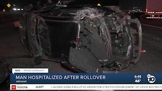 Man hospitalized after Miramar rollover crash