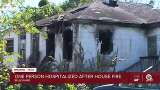 Fire damages Belle Glade home, person taken to hospital
