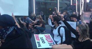 Protesters gathering on Las Vegas Strip