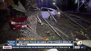 Man suspected in San Diego restaurant break-in attempt arrested after chase, crash in La Mesa
