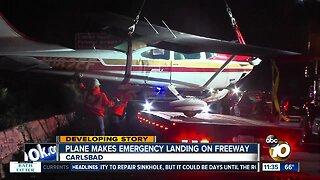 Plane crashes on I-5