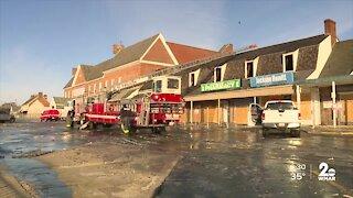 Three-alarm fire ignites Saturday night at Edmondson Village Shopping Center