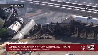 Contractors injured while cleaning train crash