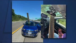 """'Like something out of """"Final Destination""""' — Unsecured 2x4 flies through woman's windshield on turnpike"""