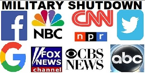 Military shutdown and investigation of the mainstream media, Facebook, Twitter, Google, federal legislative, executive, judicial branches of government, lockdown governors, mayors and the CDC.