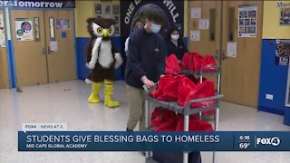 Students give blessing bags to homeless