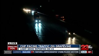 Snow flurries falling on the Grapevine