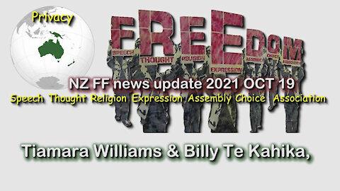 2021 OCT 19 NZ Freedom Fighters News Update Billy Te Kahika, Tiamara Williams