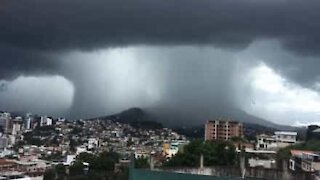 Apocalyptic-looking waterspout filmed above Brazilian town