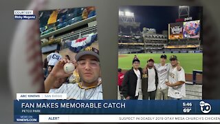 Fallbrook fan catches ball at Petco Park