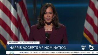 Harris accepts VP nomination