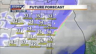 Snow flurries Thursday, high of 40