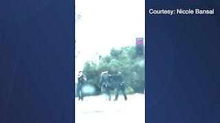 RAW VIDEO: Arrest of apparent homeless man in La Jolla