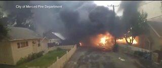 Helmet footage shows firefighters battling California fires