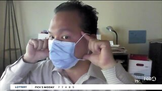 Medical professional demonstrates right way to take off mask
