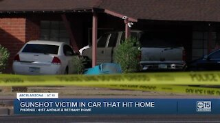 FD: Woman shot multiple times, injured after being in vehicle that crashed into Phoenix home