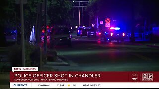 Officer shot in Chandler, suspect on the run