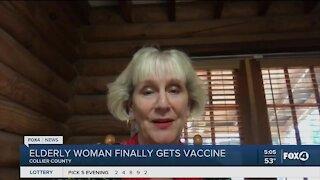 Elderly woman finally gets vaccine