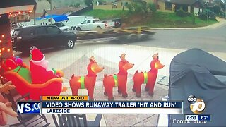 Caught on video: Runaway trailer crashes into SUV in driveway
