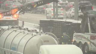 Overturned semi causing delays on I-90 westbound near West 41st Street