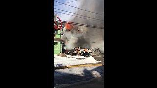 VIDEO: Crews battle house fire in Akron