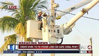 Crews work to fix power lines on Cape Coral Parkway