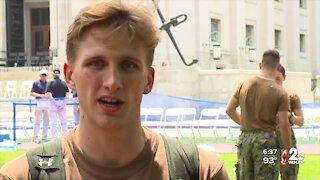 Naval academy freshman take on the Herndon Climb