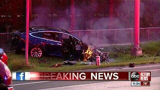 Tesla engulfed in flames near Steinbrenner Field