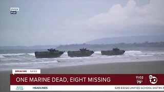 One Marine dead, eight missing