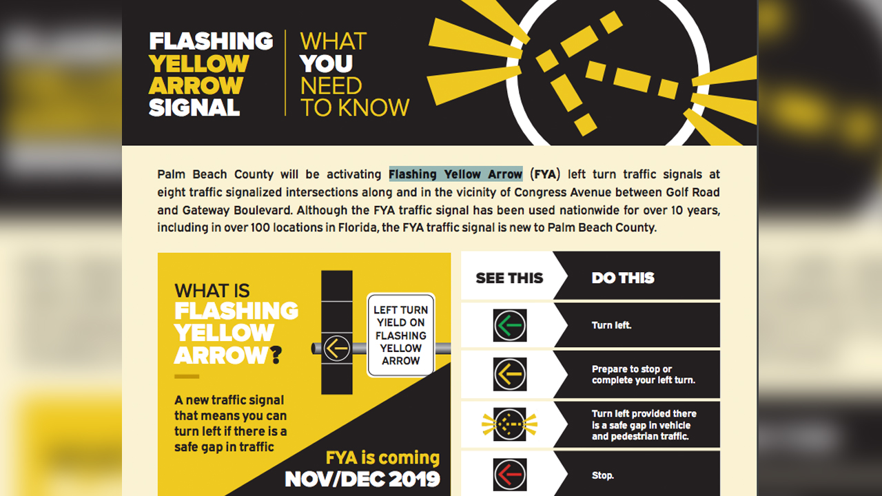 Flashing Yellow Arrow signals coming to Palm Beach County
