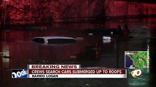 Cars submerged on Barrio Logan street
