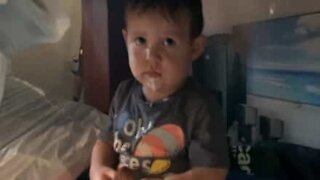Boy caught eating ice cream on the sly