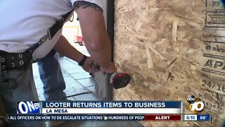 Looter returns items to La Mesa business