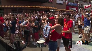 USA soccer fans go crazy at Power and Light