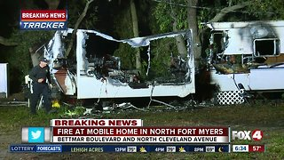 Trailer destroyed by fire in North Fort Myers