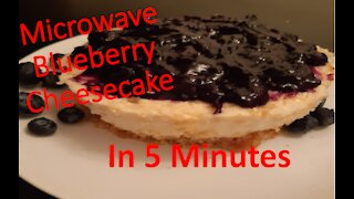 Microwave blueberry cheesecake in 5 minutes