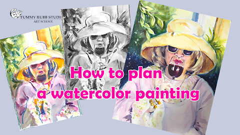 How to plan watercolor painting to avoid mistakes: fun portrait with a glass of wine
