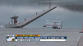 Search resumes for girl who fell from boat on San Vicente Reservoir