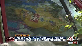 Property owner blames broken leg for violations
