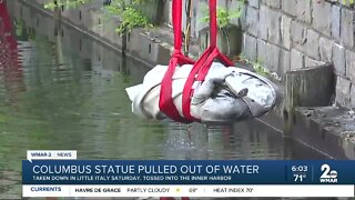 Columbus statue pulled out of water