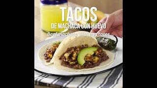 Machaca tacos with egg