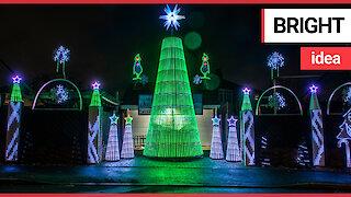 Mechanic creates incredible Christmas light display