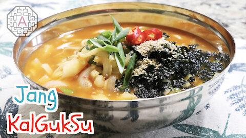 Korean Spicy Noodle Soup, Jang KalGukSuK (장칼국수) | Aeri's Kitchen